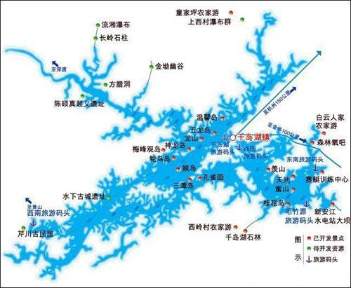 千岛湖景点示意图   千岛湖所在的县城&mdash